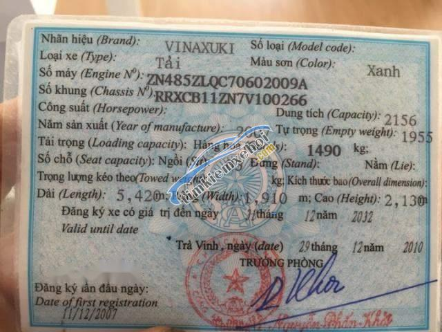 Cần bán xe Vinaxuki 1490T 1.5T 2007, 80 triệu