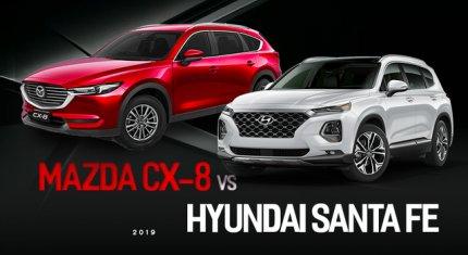 So sánh Mazda CX-8 với Hyundai Santa Fe: Phân khúc SUV thêm đối thủ đáng gườm